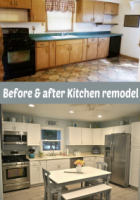 Before and after white coastal kitchen remodel