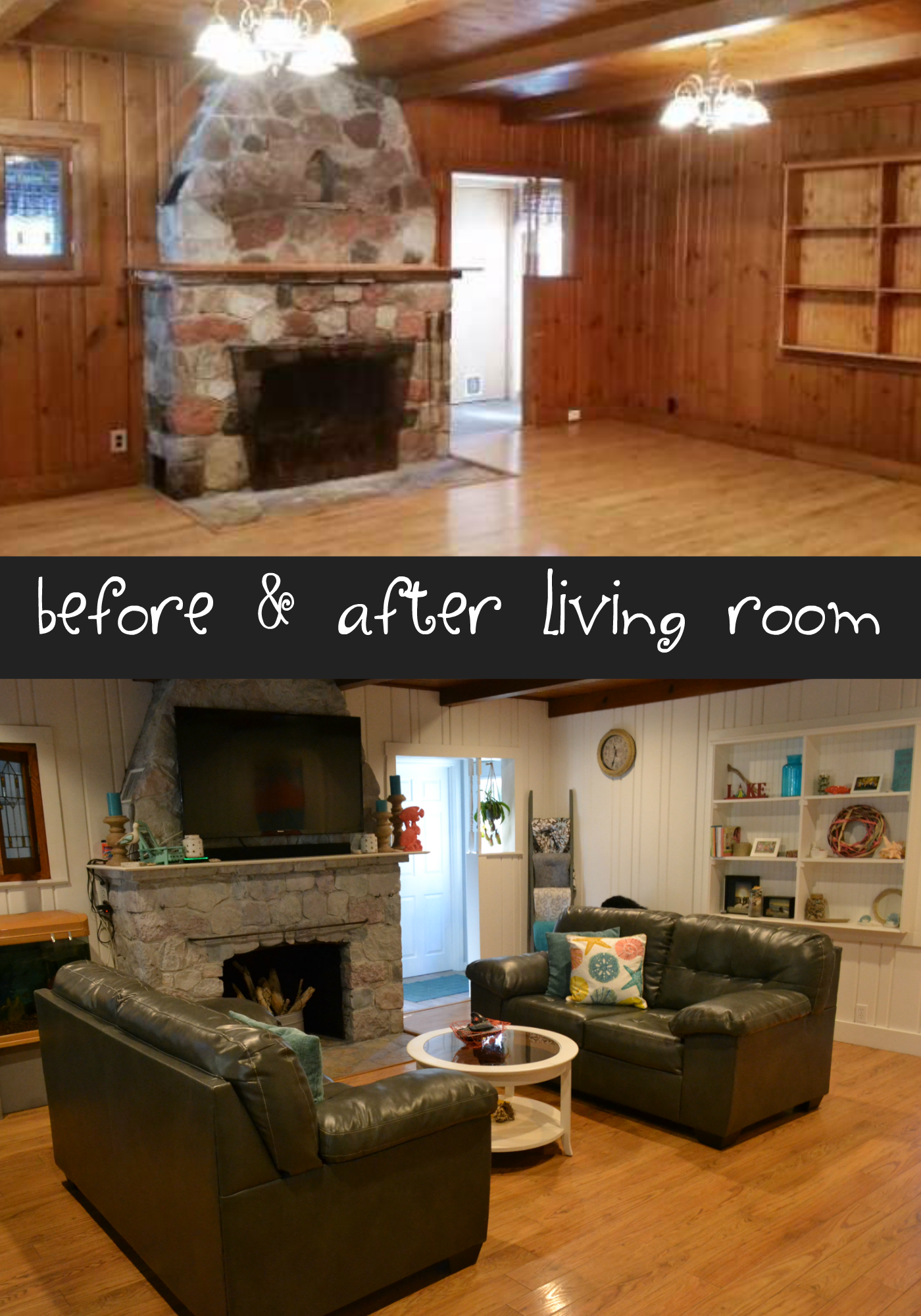 before and after living room remodel with painted wood paneling