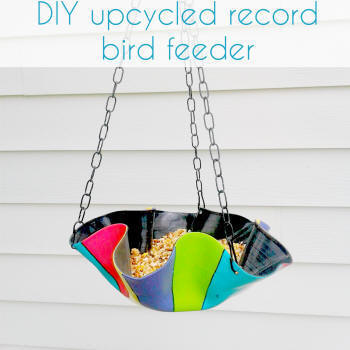 upcycled record bird feeder