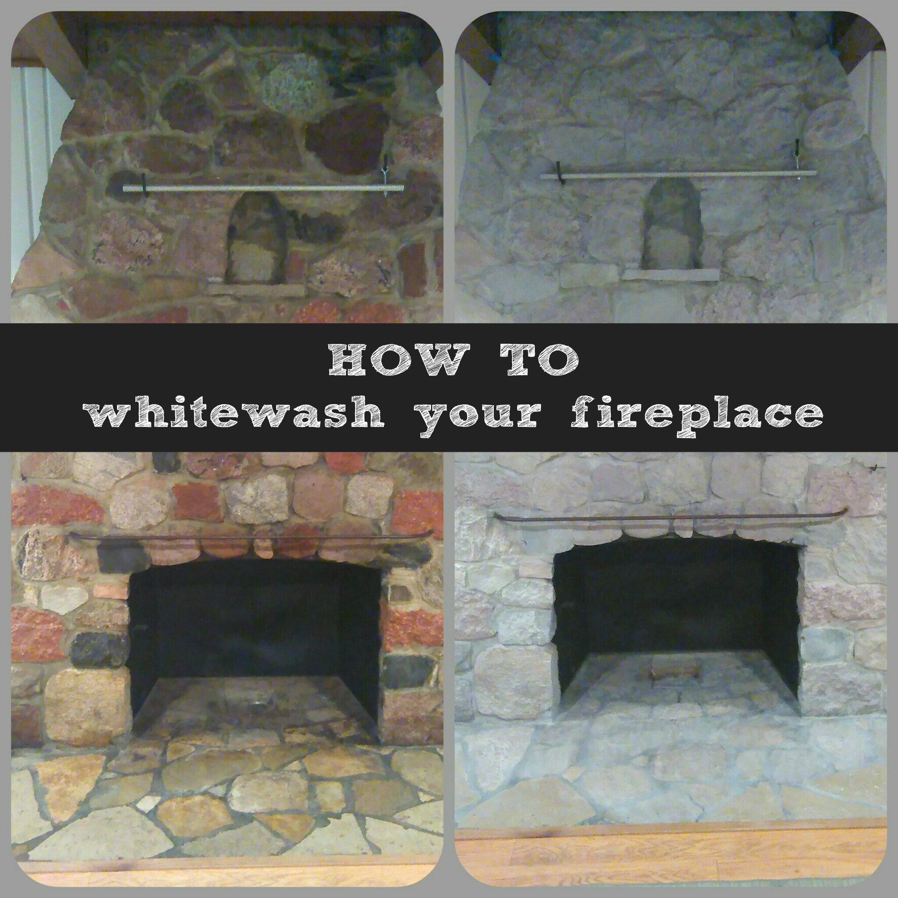 how to white wash your stone fireplace. Black Bedroom Furniture Sets. Home Design Ideas