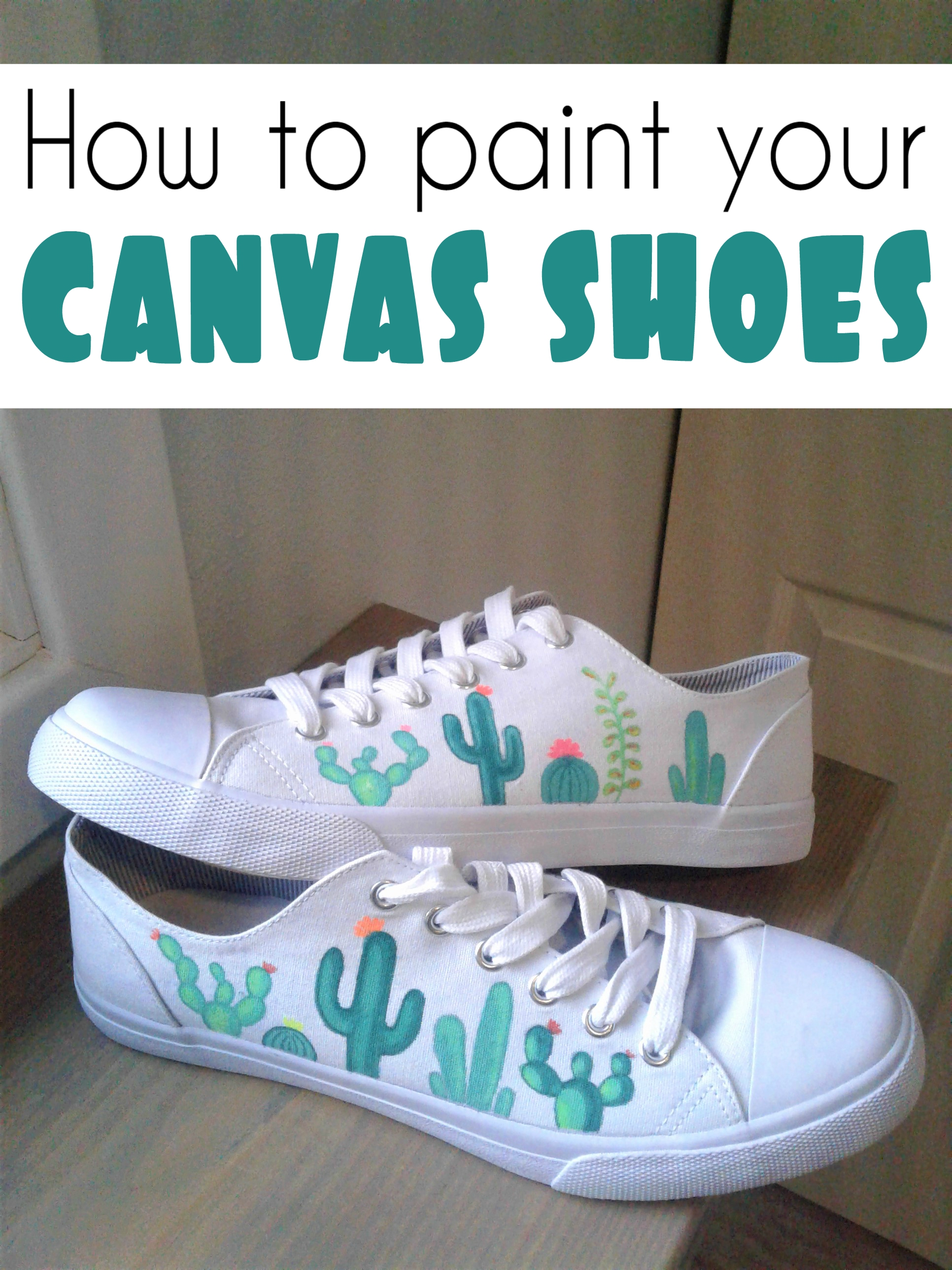 70d53a253fd5 how to paint your cactus themed canvas shoes